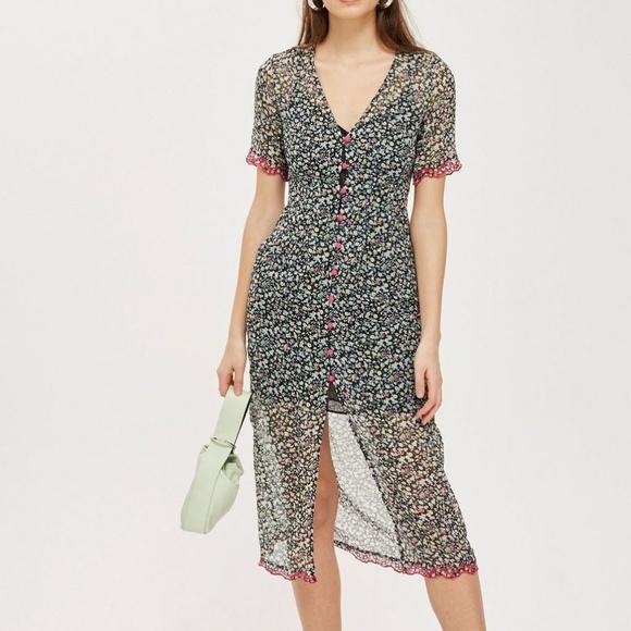 e2c39141c1f0 Topshop Dresses | Nwot Chiffon Embroidered Button Midi Dress | Poshmark